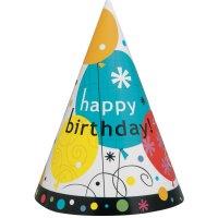 Contient : 1 x 8 Chapeaux Happy Birthday Ballons
