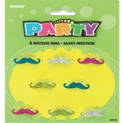 8 Bagues moustache Glitter