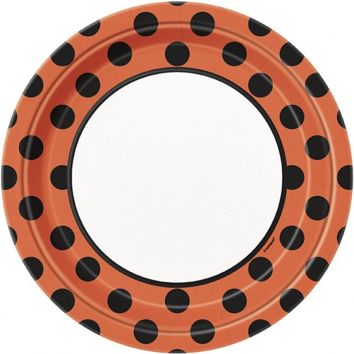 8 Assiettes à pois Noir/Orange