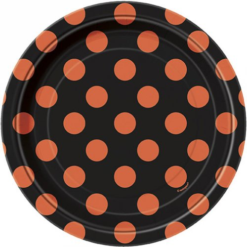 8 Petites assiettes à pois Noir/Orange