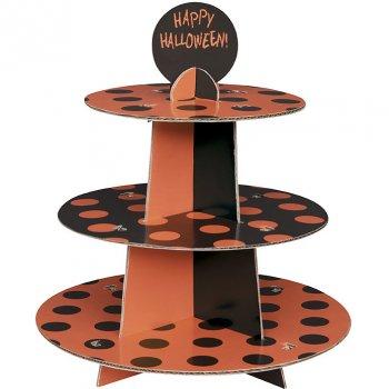 Présentoir à cupcakes à pois Noir/Orange