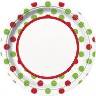 8 Assiettes à pois Rouge/Vert