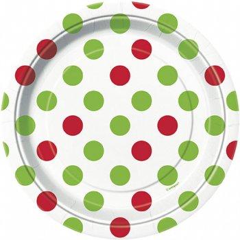 8 Petites assiettes à pois Rouge/Vert