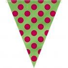 Guirlande fanions � pois Rouge/Vert
