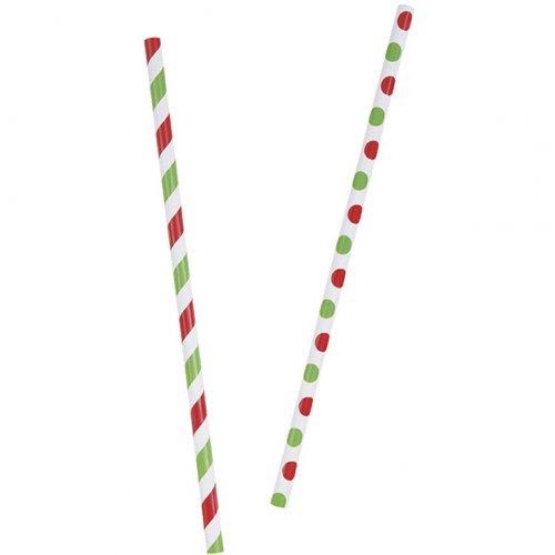 10 Pailles Papier Rouge/Vert