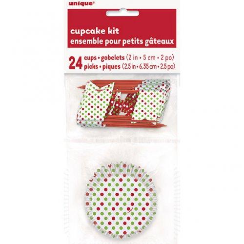 Kit 24 Caissettes et Déco à Cupcakes à pois Rouge/Vert