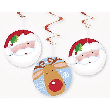 3 Guirlandes Spirales Père Noel