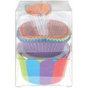 Kit 24 Caissettes, 12 d�co et Wrappers � cupcakes Rainbow