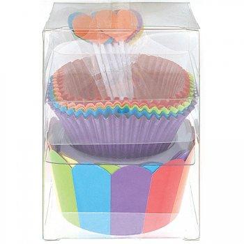 Kit 24 Caissettes, 12 déco et Wrappers à cupcakes Rainbow