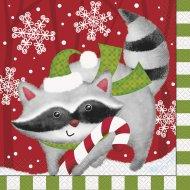 16 Serviettes Animaux Noël