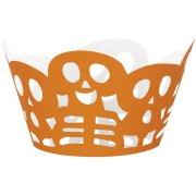 12 Wrappers à Cupcakes Squelettes Orange