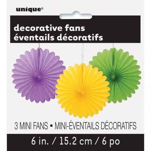 3 Mini Eventails Déco Violet/Jaune/Vert