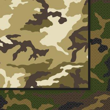 16 Serviettes Camouflage