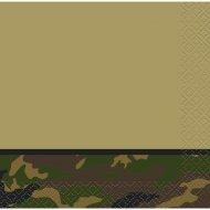 16 Petites Serviettes Camouflage