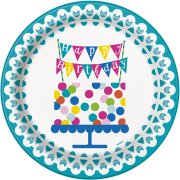 8 Assiettes Happy Birthday Confetti
