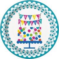 Contient : 1 x 8 Assiettes Happy Birthday Confetti