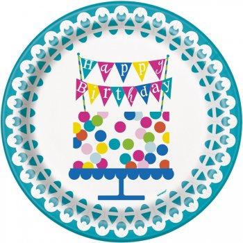 8 Assiettes Happy Birthday Confetti