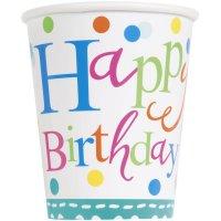 Contient : 1 x 8 Gobelets Happy Birthday Confetti