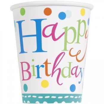 8 Gobelets Happy Birthday Confetti
