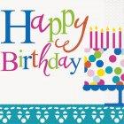 16 Serviettes Happy Birthday Confetti