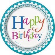 8 Petites Assiettes Happy Birthday Confetti