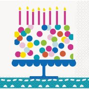 16 Petites Serviettes Happy Birthday Confetti