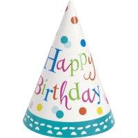 Contient : 1 x 8 Chapeaux Happy Birthday Confetti