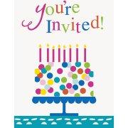8 Invitations Happy Birthday Confetti