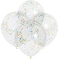 Contient : 1 x 6 Ballons transparents et Confetti Multicolores