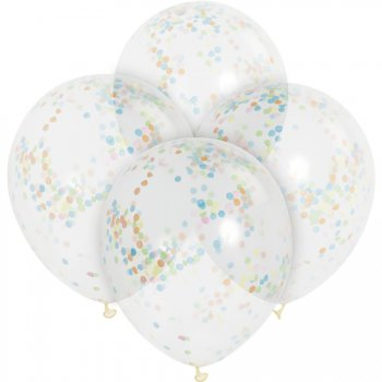 6 Ballons transparents et Confetti Multicolores