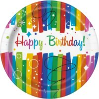 Contient : 1 x 8 Assiettes Happy Birthday Rainbow