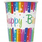 8 Gobelets Happy Birthday Rainbow