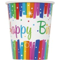 Contient : 1 x 8 Gobelets Happy Birthday Rainbow