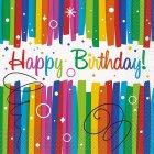 16 Serviettes Happy Birthday Rainbow