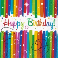 Contient : 1 x 16 Serviettes Happy Birthday Rainbow
