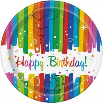 8 Petites Assiettes Happy Birthday Rainbow