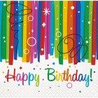 16 Petites Serviettes Happy Birthday Rainbow