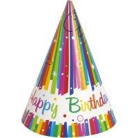 Contient : 1 x 8 Chapeaux Happy Birthday Rainbow