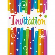 8 Invitations Happy Birthday Rainbow