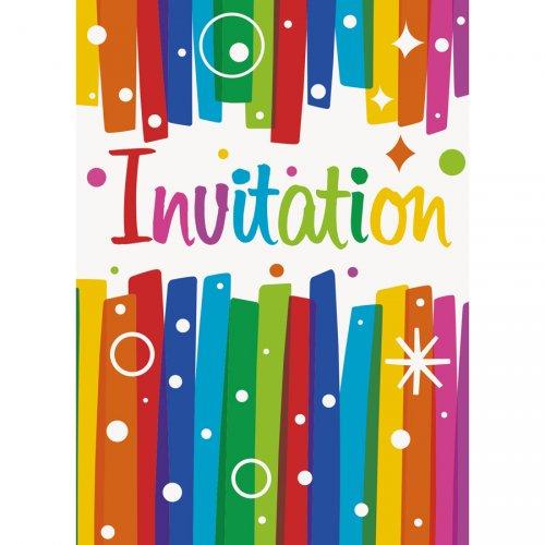 8 Invitations Happy Birthday Rainbow