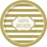 8 Assiettes Happy Birthday Gold