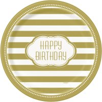 Contient : 1 x 8 Assiettes Happy Birthday Gold