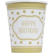 8 Gobelets Happy Birthday Gold