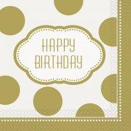 16 Serviettes Happy Birthday Gold