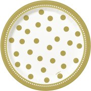 8 Petites Assiettes Happy Birthday Gold