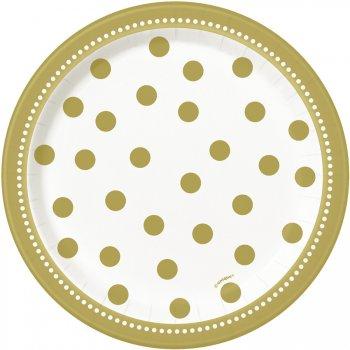 8 Petites Assiettes Happy Birthday Gold