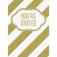 8 Invitations Happy Birthday Gold