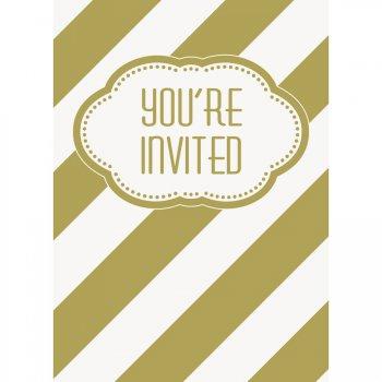 8 Invitations Happy Birthday Gold