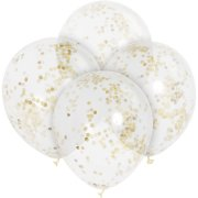 6 Ballons transparents et Confetti Or