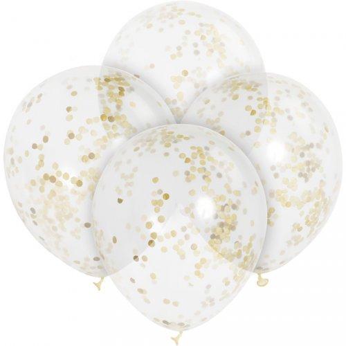 6 Ballons transparents et Confetti Or